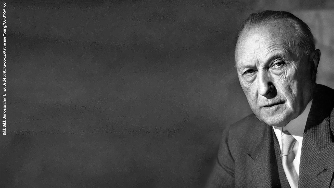 Konrad Adenauer: Foto: Bundesarchiv, B 145 Bild-F078072-0004 / Katherine Young / CC-BY-SA 3.0